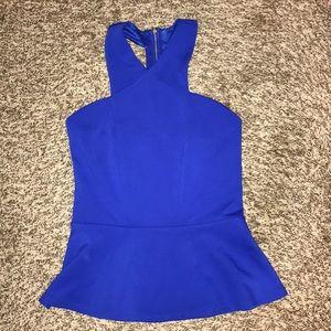 Women's royal blue peplum top